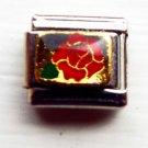 Red rose with 18ktgp enamel 9mm stainless steel italian charm bracelet link new