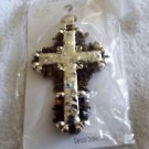VIP Shiny silver metal cross pendant with brown chip beads and crystal bling