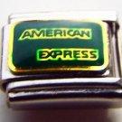 American Express logo enamel 9mm stainless steel italian charm bracelet link new