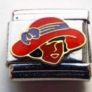 Lady in a fancy red hat enamel 9mm stainless steel italian charm bracelet link