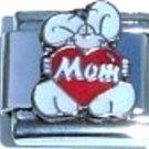 Mom rabbit  heart enamel 9mm stainless steel italian charm bracelet link new
