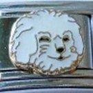 Bichon Frise dog face enamel 9mm stainless steel italian charm bracelet link new