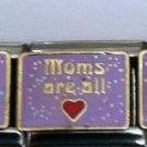 Moms are all (heart) enamel 9mm stainless steel italian charm bracelet link new