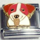 Brown and white dog face enamel 9mm stainless steel italian charm bracelet link