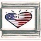 Amercan flag heart photo 9mm stainless steel italian charm bracelet link new