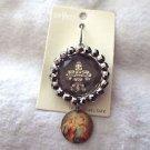 DaVinci heavy round Fleur Di Lis bling pendant with Saint Peter image dangle new