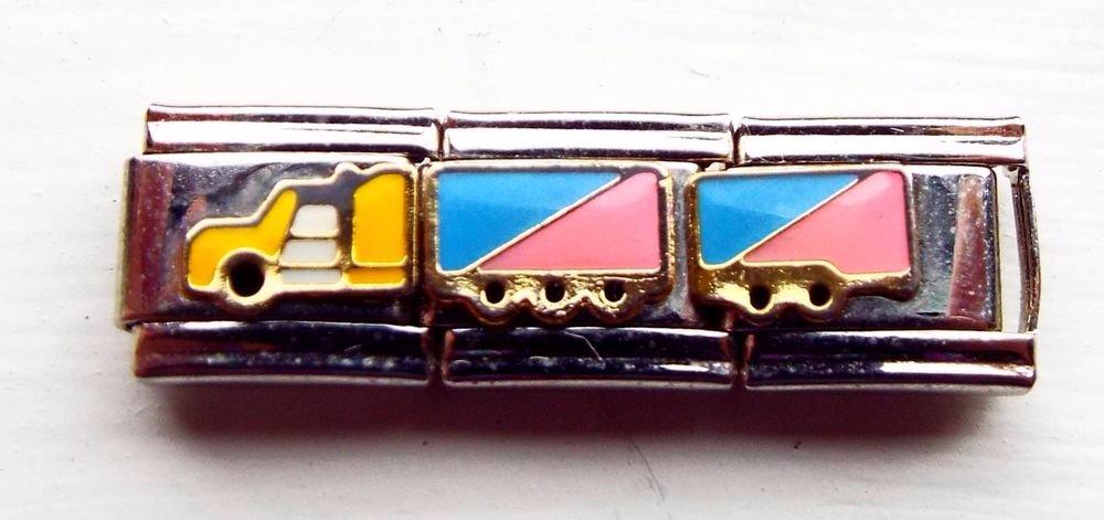 Pink and blue truck/semi enamel 9mm stainless steel triple link italian charm