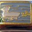 Momma duck and ducklings swim enamel 9mm stainless steel italian charm link new