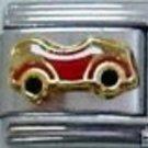 Little red sports car enamel 9mm stainless steel italian charm bracelet link