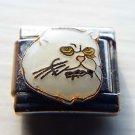White Persian cat face enamel 9mm stainless steel italian charm bracelet link