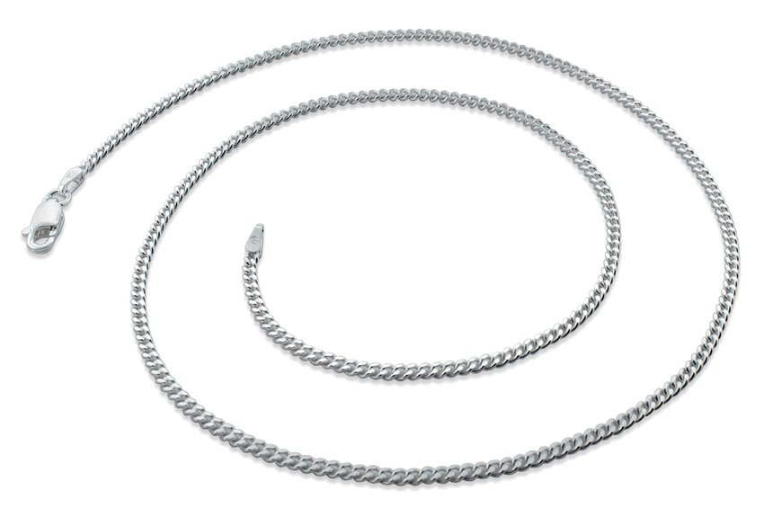 """2.1mm 7"""" Sterling Silver Curb Chain Bracelet"""