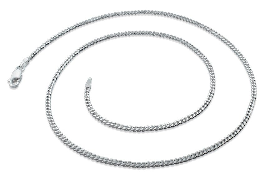 "2.1mm 9"" Sterling Silver Curb Chain Bracelet"