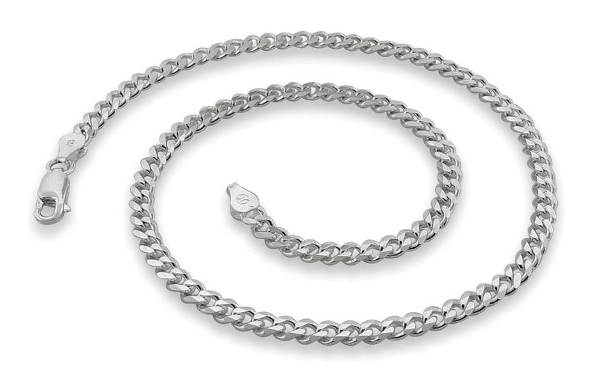 "4.6mm 7"" Sterling Silver Curb Chain Bracelet"