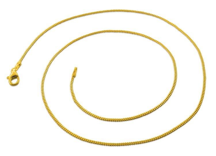 "1.2mm 16"" 14K Gold Plated Sterling Silver Curb Chain"
