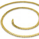 "3mm 22"" 14K Gold Plated Sterling Silver Curb Chain"