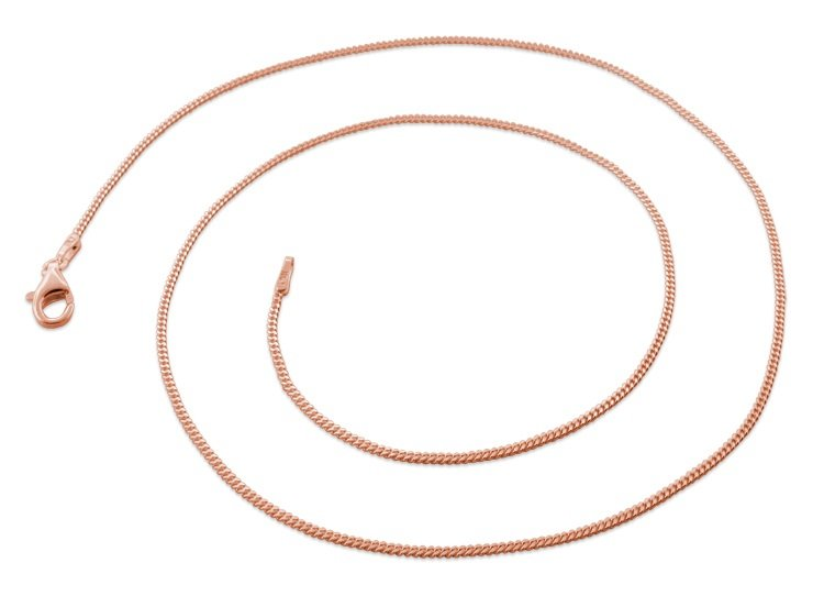 "1.2mm 20"" 14K Rose Gold Plated Sterling Silver Curb Chain"