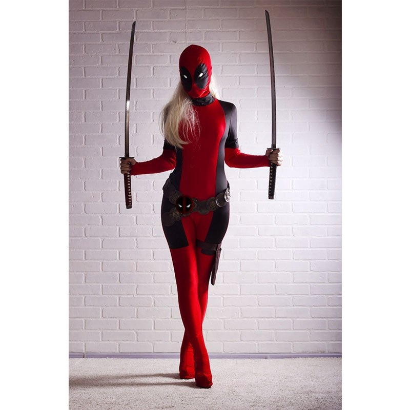 Lady Deadpool Cool Spandex Costume Red Full Body (only jumpsuit)