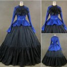 Blue and Black Long Sleeves Medieval Victorian Civil Dress Custom Made W1129