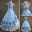 Adult Classic Blue and White Ruffled Gothic Victorian Medieval Lolita Dress