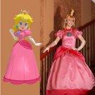 Super Fancy Mario Bros Princess Peach Cosplay Costume Custom Made Princess Dress