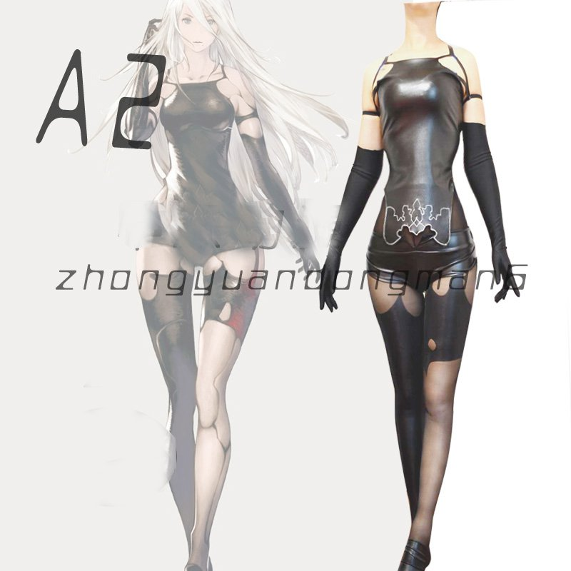 Game NieR Automata A2 Black Unifrom Sexy Cosplay Costume Tights Corset Custom Made