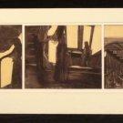 Diamond Falk Unusual 3 Panel Etching Art etching