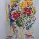 Wayne Ensrud Signed  Bouquet aux Fleurs Rouges