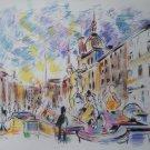 Wayne Ensrud Signed Proof Print Piazza Navonna Italy
