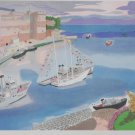 Georges Lambert Ships in Harbor S/N Lithograph