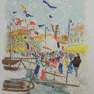 Urbain Huchet Lithograph Print S/N Voiliers a Saint- Tropez