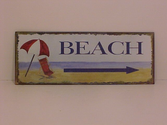 Beach Sign Made Of Metal