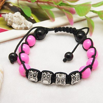 Hot Pink and Silver Shambala Bracelet