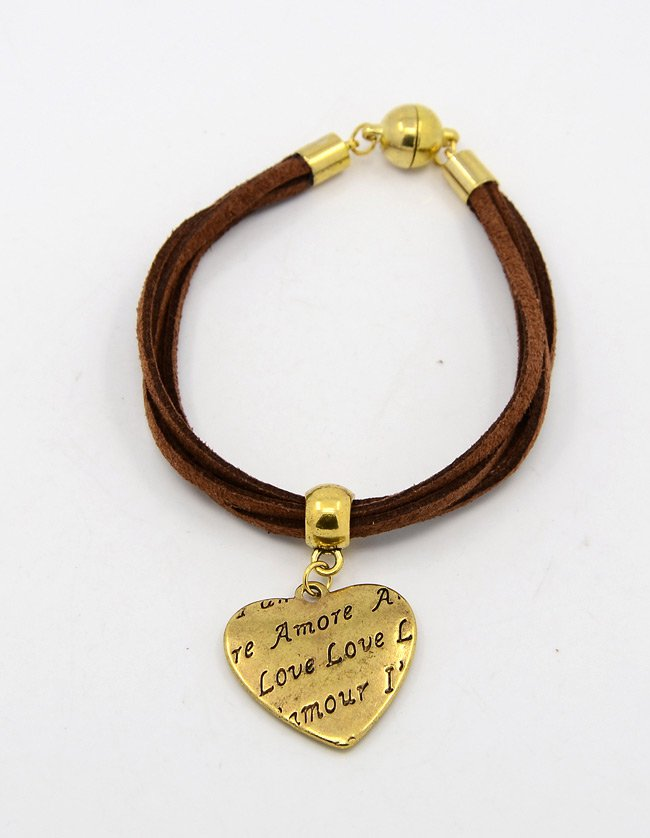 Gold Heart Leather Charm Bracelet