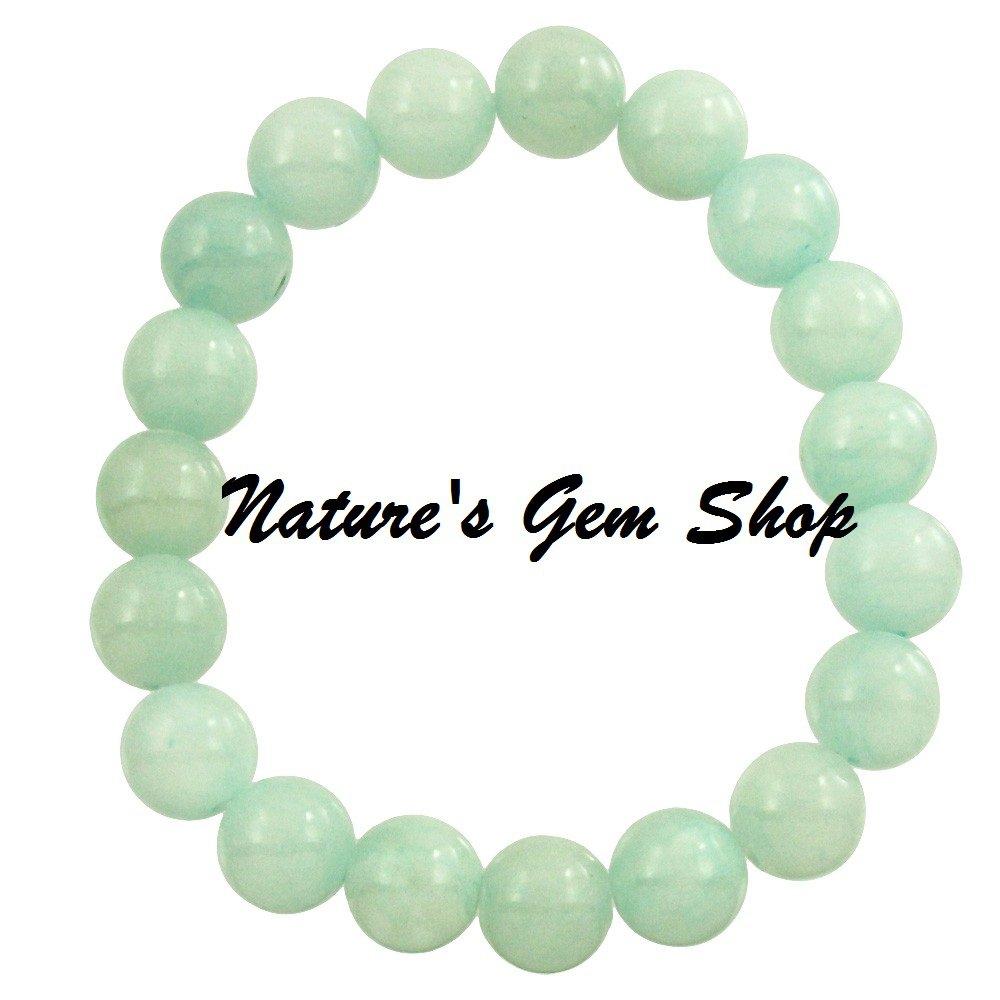 Aqua Jade 10 mm stretch bracelet