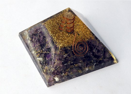 Amethyst Crown Chakra Orgonite - (3-3.5 Inch) - With gift pack and surprise gift