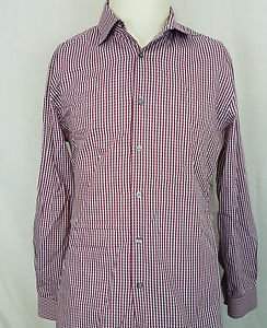 Paul Smith Slim Fit Red White Cotton Checkered L/S Dress Shirt Size 15.5/39