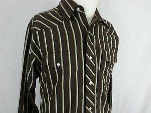 Wrangler Authentic Western Diamond Pearl Snap Brown Striped Men's Shirt - M