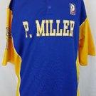 P. Miller Denim Collection Mens Knit Shirt 06 Button Blue Yellow Jersey Size XL