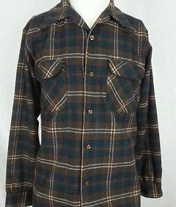 Vintage Pendleton Lumberjack Flap Pockets Hunting Wool Brown Plaid Shirt - M
