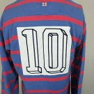 Hackett London Rugby Long Sleeve Striped Blue Pink Polo Shirt #10 Patch - XL