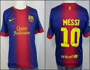 Nike Dri Fit Lionel #10 Messi Qatar Foundation Unicef FCB LFP Soccer Jersey