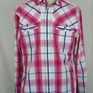 TED BAKER Pink Blue White Checkered Plaid Button Down Shirt Size 4