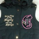 COOGI Women's Gold Embroidered Patch Black Faux Fur Detachable Hood Ski Vest - M