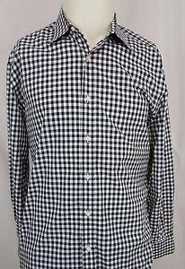 Ralph Lauren Purple Label Button Down Black White Checker Shirt 16 Italy