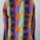WRANGLER Aztec Indian Southwest Western Cowboy Rodeo Shirt Size XL 17.5-36