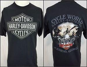 Harley Davidson Motorcycles Cycle World Athens Georgia Black Shirt Size Medium
