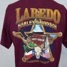 Harley Davidson Motorcycles Laredo Texas Skull Badge Eagle Maroon Shirt  - M