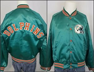 Vintage Miami Dolphins NFL Football Team Snap Satin Chalk Line Starter Jacket L