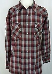 Pendleton High Grade Western Wear Wool Red Maroon Plaid Pearl Snap Shirt Size XL