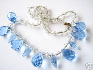 VICTORIAN CRYSTAL CUT NECKLACE BLUE PINEAPPLE DROPS